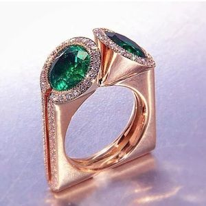 Rose Gold Art Deco Sapphire Crystal Ring